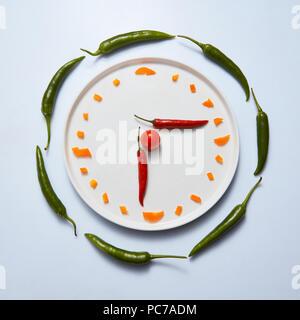 Temps,Légumes Photo Stock
