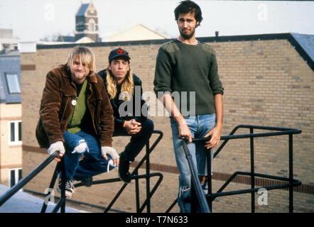 Groupe de rock américain nirvana en octobre 1990. De gauche: Kurt Cobain, Dave Grohl, Daniel Johnston enregistre ses premières chansons chez lui. Photo: Hanne Jordanie Photo Stock