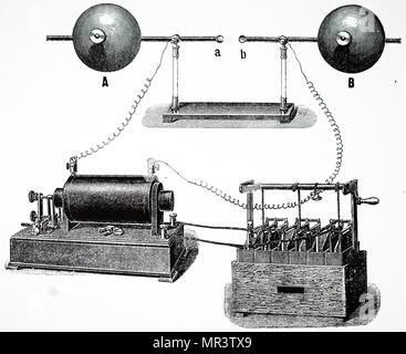 Illustration montrant l'expérience de Heinrich Hertz sur les ondes électromagnétiques: oscillateur de hertz. Les bornes d'une bobine d'induction (en bas à gauche) ont été connectées à un condenseur, B. étincelle initiale du passage entre des boules de métal au centre, A,B, formé un chemin pour les oscillations ultérieures qui ont été mesurés. Heinrich Hertz (1857-1894), un physicien allemand qui arrive à prouver de façon concluante l'existence des ondes électromagnétiques théorisé par James Clerk Maxwell's la théorie électromagnétique de la lumière. En date du 20e siècle Photo Stock