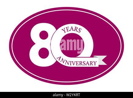 80 ans anniversaire inscription sur ovale bleu, design plat simple Photo Stock