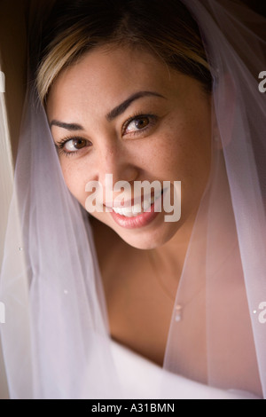 Portrait of bride wearing veil Photo Stock
