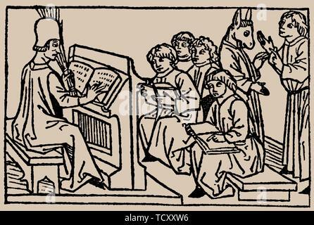 Leçons à l'école. De Speculum Vitae Humanae par Rodericus Zamorensis, 1479. Collection privée. Photo Stock