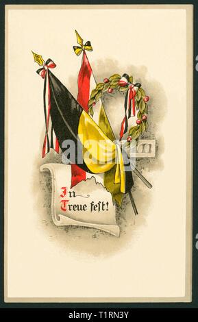 Allemagne, Hambourg, LA PREMIÈRE GUERRE MONDIALE, de messagerie militaire carte postale avec drapeaux et le texte en ' ' (dans Treue fest loyauté), envoyé 03. 04. 1916. , Additional-Rights Clearance-Info-Not-Available- Photo Stock