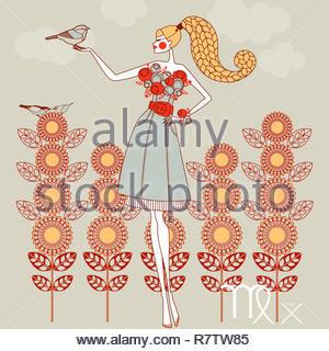 Modèle de mode comme signe du zodiaque vierge Photo Stock