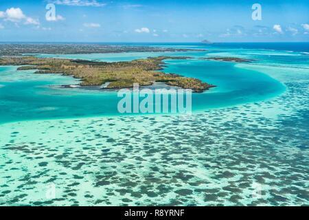 L'Ile Maurice, Rivière du Rempart, Grand Gaube, vol en hydravion sur la lagune, l'ambre est Photo Stock