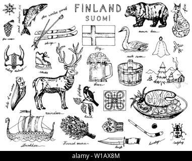 Symboles de la Finlande dans le style vintage. Doodle croquis avec signes traditionnels. La culture scandinave, divertissement national dans un pays européen. Animaux Photo Stock