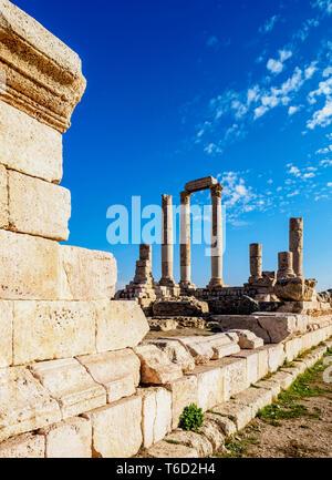 Ruines du temple d'Hercule, La Citadelle d'Amman, Amman, Jordanie Gouvernorat Photo Stock