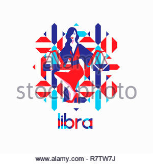 Modèle de mode à motif géométrique comme signe du zodiaque balance Photo Stock