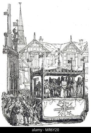 Gravure représentant une pièce jouée à Coventry, Place du marché. En date du 19e siècle Photo Stock
