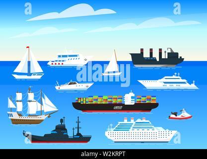 Les navires de mer arrière-plan. Ensemble de voiliers et bateaux cargo naviguant sur l'eau bleue. Les marins Transport voyage. L'affiche de l'été ou une bannière pour un site web Photo Stock