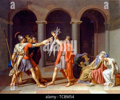 Anne-Louis Girodet de Roussy-Trioson, Jacques Louis David, le Serment des Horaces, peinture, 1786 Photo Stock