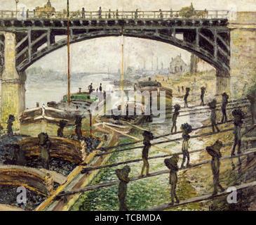Claude Monet, le Coalmen, peinture, vers 1875 Photo Stock