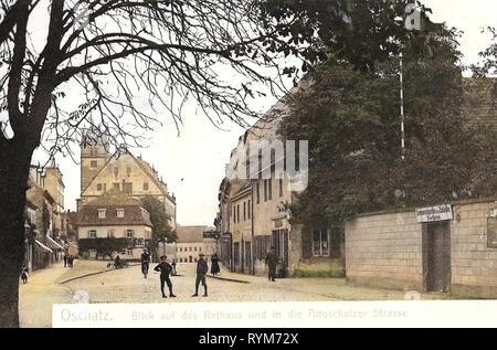 Les mairies en Landkreis Nordsachsen, Oschatz, 1903, Landkreis Nordsachsen, Rathaus und die Altoschatzer Straße, Allemagne Photo Stock