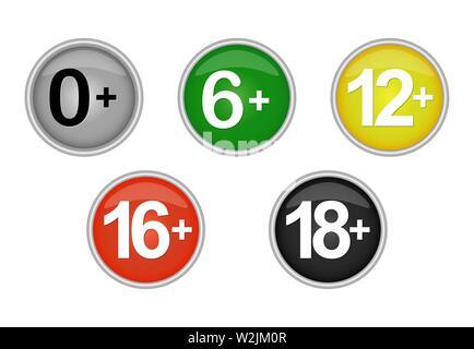 Ensemble de couleur des icônes ou des boutons d'une limite d'âge pour les sites web et applications Photo Stock