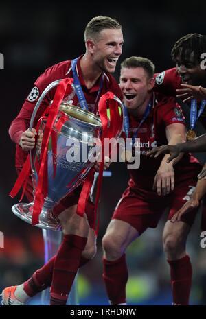 JORDAN HENDERSON, James Milner, Tottenham Hotspur FC V LIVERPOOL FC finale de Champions League 2019, 2019 Photo Stock