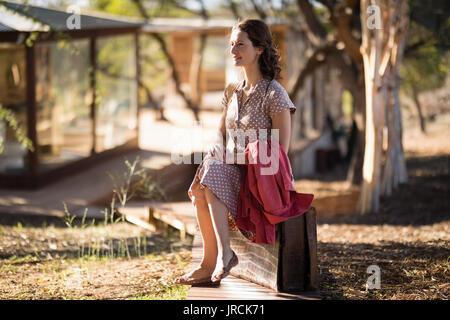 Senior woman sitting Photo Stock