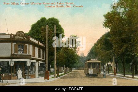 Bureau de poste - Corner Wortley Road et Askin Street, London, Ontario, Canada Date: vers 1905 Photo Stock