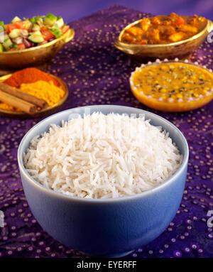 Riz Basmati cuit à blanc Photo Stock