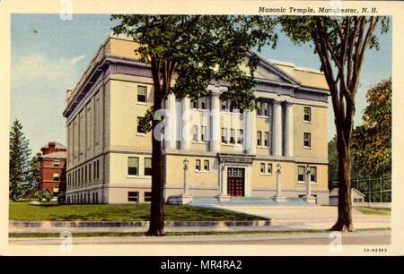 Temple maçonnique à Manchester, New Hampshire, USA. Carte postale vers 1920 Photo Stock