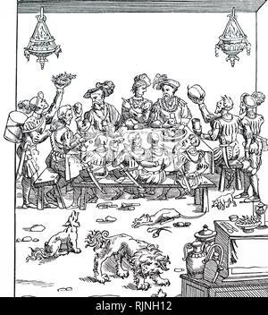 Une gravure sur bois représentant une scène de banquet. En date du 16e siècle Photo Stock