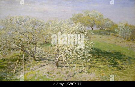 Printemps (arbres fruitiers en fleurs), par Claude Monet, 1873, la peinture impressionniste français, huile Photo Stock