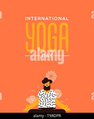 Carte de l'homme jour Yoga lotus faisant poser dans l'exercice de style dessin animé télévision moderne. Photo Stock