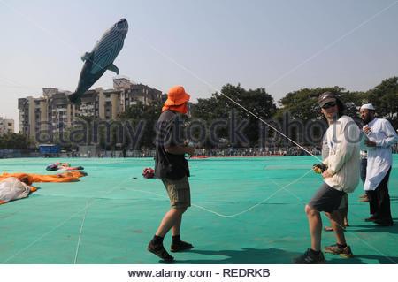 Un participant international vole un cerf-volant en forme de baleine pendant le Festival International de Cerf-volant à Surat, en Inde, le 9 janvier 2013. Plus de 50 kitists ont participé à la fête qui a été organisée par l'office du tourisme du Gujarat. (Nirbhay Kapadia) Photo Stock