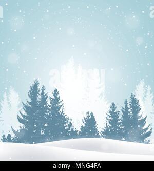Vecteur de Noël avec arrière-plan hiver paysage enneigé. Carte de vœux de Nouvel An Photo Stock