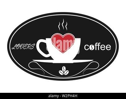 Tasse de café chaud, un coeur et le café des amoureux des mots. Modèle pour le logo, la marque ou Bierdeckel. Photo Stock