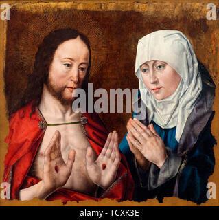Le Christ montrant sa mère l'ongle Blessures dans ses mains, ch. 1490. On trouve dans la Collection d'Nivaagaards Malerisamling. Photo Stock