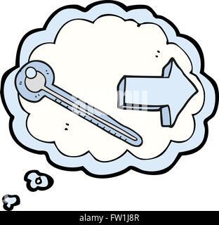 Freehand appelée bulle pensée thermomètre cartoon Photo Stock