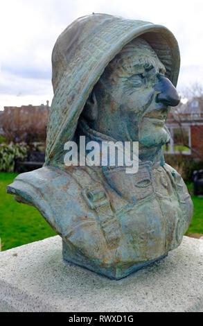 Buste en bronze de Henry blogg, cromer, North Norfolk, Angleterre Photo Stock