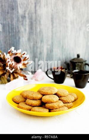 Gaufrettes vanille avec plateau Rose Photo Stock
