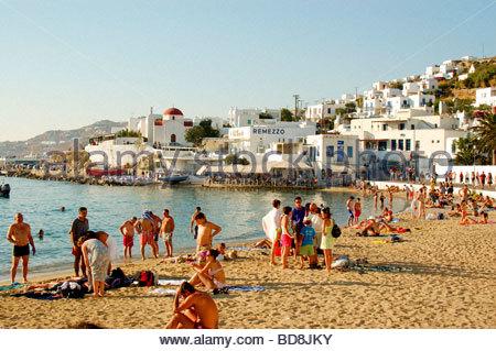 Une plage MYKONOS GRÈCE Photo Stock