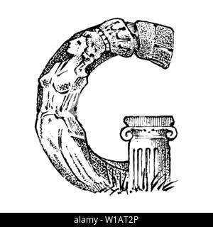 Ancien antiquité lettre capitale G d'un ornement. La culture grecque. Double exposition. Croquis dessinés à la main, gravée dans un style vintage. Photo Stock