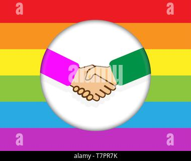 Cercle avec une poignée de main. Contexte en arc-en-ciel de couleurs LGBT Photo Stock