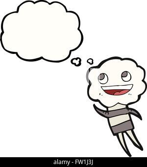 Freehand appelée bulle pensée cartoon cute créature tête cloud Photo Stock