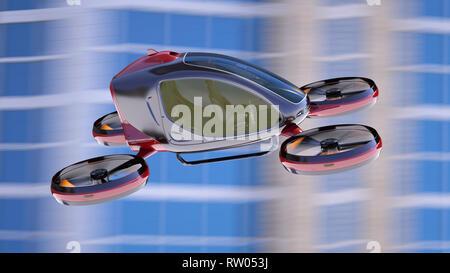 Drone passager électrique volant en face de bâtiments. C'est un modèle 3D et n'existe pas dans la vie réelle. 3D illustration Photo Stock