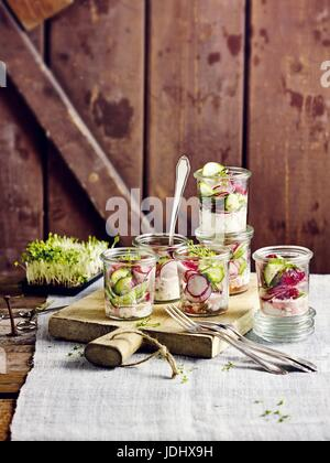 Salade de radis avec rasperries Photo Stock