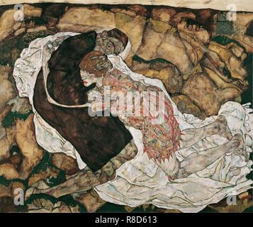 La jeune fille et la mort, 1915. On trouve dans la collection de &#ts6;sterreichische Galerie Belvedere, Vienne. Photo Stock
