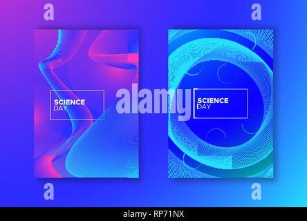Journée de la science résumé contexte défini. Fond dégradé bleu et rose avec des formes géométriques pour la recherche scientifique concept. Photo Stock
