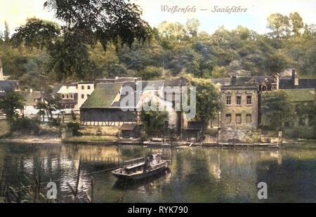 Saale à Weißenfels, ferries à travers la Saale, histoire de Weißenfels, 1919, la Saxe-Anhalt, Weißenfels, Saalefähre, Allemagne Photo Stock