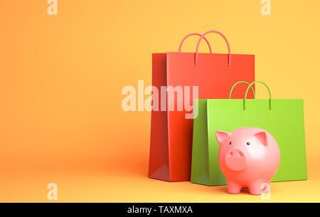 Deux sacs de shopping et tirelire. 3D illustration Photo Stock