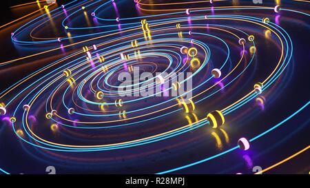 Sphères lumineux se déplaçant le long des lignes lumineuses tourbillonnait. 3D illustration Photo Stock