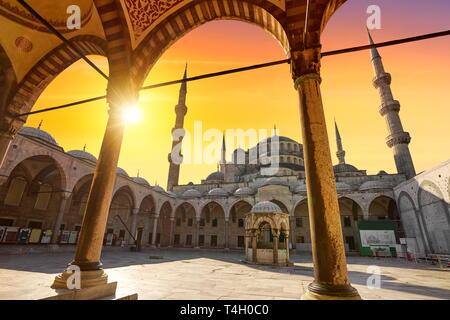 Mosquée Bleue, coucher de soleil, Istanbul, Turquie Photo Stock