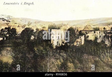 Histoire de Schloss Lauenstein, bâtiments en Landkreis Sächsische Schweiz-Osterzgebirge, 1920, Landkreis Sächsische Schweiz-Osterzgebirge, Lauenstein, Allemagne Photo Stock