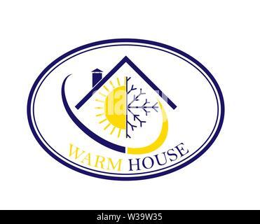 Icône ovale plat. Le logo de l'entreprise avec les mots chaleureuse maison. Photo Stock
