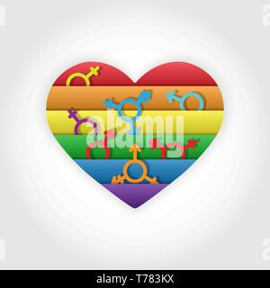 Coeur aux couleurs de l'égalité des LGBT dans les couleurs des symboles de Photo Stock