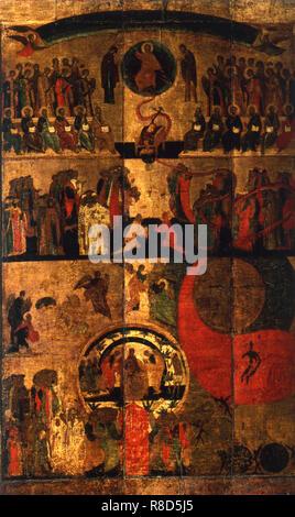 Le Jugement Dernier, fin du 14ème-début du 15ème siècle. On trouve dans la Collection de la cathédrale de la Dormition au Kremlin de Moscou. Photo Stock