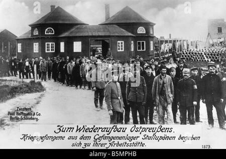 9 1916 0 0 A3 E Prisonniers de guerre au camp de Stalluponen Guerre Mondiale 1 prisonniers de guerre au camp de Photo Stock